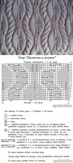 Узор спицами с листочками и жгутами - vyazhemdd.ru