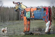 metal yard decorations, colorful metal sculptures to recycle car parts
