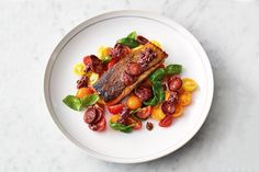 A great easy fish recipe from Jamie Oliver that will make weeknight meals super-speedy. Crispy chorizo, ripe cherry tomatoes and beautiful pan-fried salmon. Easy Fish Recipes, Salmon Recipes, Seafood Recipes, Great Recipes, Dinner Recipes, Cooking Recipes, Chorizo, Jamie Oliver Salmon, Jamie Olivier