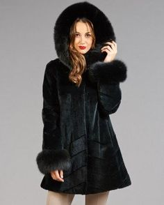 Holly Black Sheared Mink Coat With Fox Fur Trim Hood