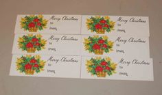 Basket of Poinsettes Vintage Gift Tags Merry by RomanceWriter
