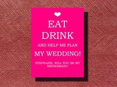 Will You Be My #Bridesmaid #Card by WeddingsByJamie on Etsy, $5.00