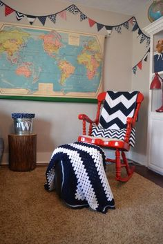 i know this is a nursery but I do have a rocking chair that needs some attention and I love the map and the globes....sooooo maybe some ideas for the 4th bedroom