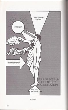 "We get energy and balance from not just from our food, breath, and sun, but from the earth energy or geo-electro-magnetic (aligns human charge to a more balanced state, the cosmic (aligns our higher subtle energetic field, including Tachyon Energy, energies that are all moving faster than the speed of light). Image from Gabriel Cousens, as written about in his book, ""Spiritual Nutrition"".......PARTAGE OF JEFF ANDREWS.......ON FACEBOOK........"