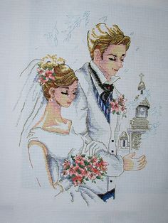 """Completed Cross Stitch 100% Hand-made Design count: 165sts wide X 215sts high  Fabric Size: 46cm X 57cm / Inch: 18"""" X 22"""" Fabric: 11-count white aida"""