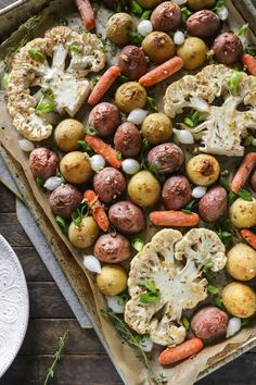 One-Pan Lemon Pepper Cauliflower Steaks + Roasted Vegetables   Gluten-Free, Vegan, Oil-Free   The Plant Philosophy