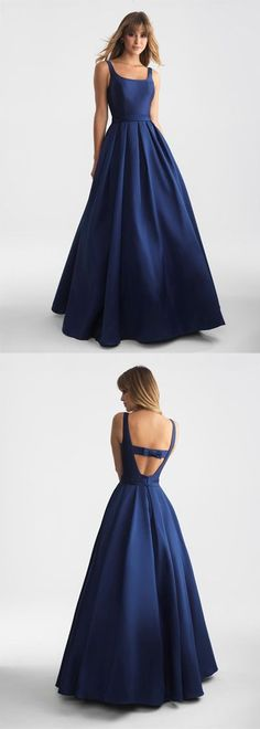 Simple A-line navy blue long prom evening dress 51958	#RosyProm #fashionpromdress #charmingpromgown #longpartydress #simpleeveningdress #navybluepromdress #promgown