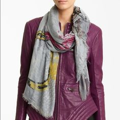 """Yigal Azrouel Horseshoe Print a Jersey Scarf NWT Yigal Azrouel Horseshoe Print Jersey Scarf.  52""""W x 69""""L. Modal/cashmere; lofty fringe trims a muted jersey scarf lightened with a colorful abstract print.  NWT Yigal Azrouel Accessories Scarves & Wraps"""