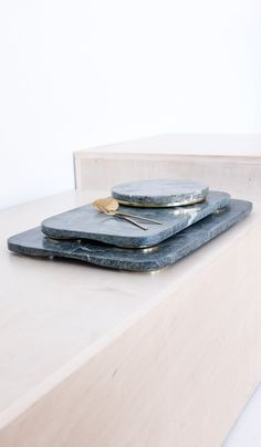 Green Marble Tray with Brass Feet, Tabletop, Hawkins NY*, SPARTAN SHOP