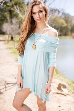 Wish Upon My Heart Off Shoulder Dress- Ice Blue