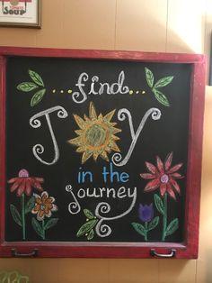 Chalkbooard sign - Find Joy in the Journey. - Chalk Art İdeas in 2019 Chalkboard Wall Art, Chalkboard Doodles, Chalkboard Writing, Kitchen Chalkboard, Chalkboard Drawings, Chalkboard Lettering, Chalkboard Designs, Chalk Drawings, Chalkboard Ideas