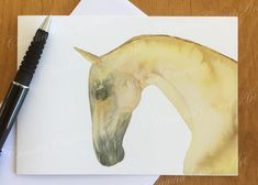 "Horse greeting card from my original watercolor painting of Akhal Teke stallion ""Greis"". 4.13 x 5.82 in (10.5 x 14.8 cm) greeting card, blank inside for your personal greeting. Visit me on Etsy: ClaudiaCaseriArt #horses #akhal teke #art cards #horse painting"