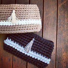 Caramel or Licorice? I love them both :) #clutch #handbag #forsale #fashion #madewithlove #madeinaustralia #yarn #ooak