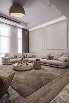 Home Design Living Room, Elegant Living Room, Home And Living, Living Room Decor, House Rooms, Home Interior Design, Behance, Dubai, Grey Cushions