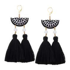 Geometric Embroidery Beads Ethnic Tassel Earrings Black (355 INR) ❤ liked on Polyvore featuring jewelry, earrings, beaded earrings, embroidered jewelry, embroidery jewelry, beads jewellery and geometric jewelry