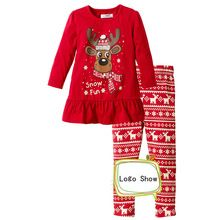 Autumn Winter Girl Children Christmas Style Girl Children Clothing Sets Long Sleeve Character Tops + Trousers 2pcs Cute Kids Set(China (Mainland))