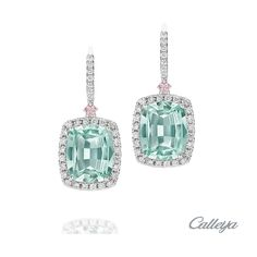 Embrace the dewy tones of soft mint and delicate pink hues in these 18ct White Gold 6.80ct Mint Tourmaline, Argyle Pink and White Diamond Earrings. View our beautiful Coloured Gem Earrings: www.calleija.com/coloured-gem-collection-necklaces-earrings-bracelets/~g2331