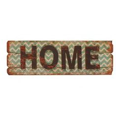 """Wood wall decor with a distressed chevron background and text detail.   Product: Wall decorConstruction Material: Wood Features: Distressed chevron background Dimensions: 9"""" H x 30"""" W x 0.25"""" D"""