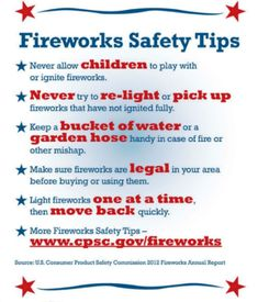 With #4thofJuly coming up, remember that #fireworks are a very dangerous attraction to use at your home. Here are some tips for using them!