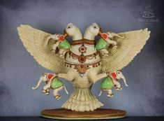 Gandaberunda/Double headed eagle from Indian Culture/ Hindu mythology. Gandaberunda is a two headed mythological bird, believed to possess immense magical powers . Missionaries Of Charity, Double Headed Eagle, Indian Wedding Cakes, Food Artists, India Culture, Mural Art, Murals, Elephant Head, Hindu Deities