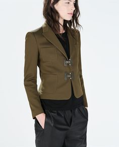 Image 2 of PLAIN WOOL BLAZER WITH TOGGLES from Zara