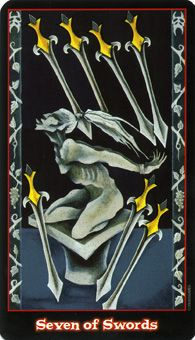 Seven of Swords: You have trained yourself to instinctively notice the opportunity.   Source: Seven of Swords card from the Vampire Tarot Deck