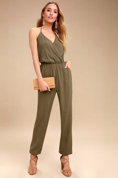505526e7c92c Learning to Fly Olive Green Jumpsuit