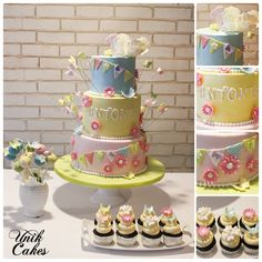 This cake was made for Antonia who turned one. The cake was made to match her dress with flowers, little flags, and butterflies.   The cake was all vanilla, cupcakes were chocolate with passion fruit buttercream, and the cake pops were chocolate.