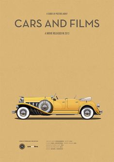 Poster of the car from The Great Gatsby. Illustration Jesús Prudencio. Cars And Films. #Cars #carsandfilms #jesusprudencio #greatgatsby #prints #movieposters #minimalmovieposters