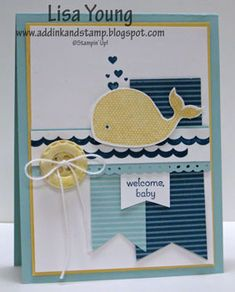 Stamps: Oh, Whale! (Spring Catalog), Petite Pairs  Paper: Island Indigo and Pool Party dsp  Card Stock: Whisper White, So Saffron, Pool Party  Ink: So Saffron, Island Indigo  Other: Simply Pressed Clay, Buttons and Blossoms Mold, Big Shot, Happy Whale Clearlit, baker's twine, Aquapainter, dimensional, Dotted Scallop Border Ribbon Punch   :))