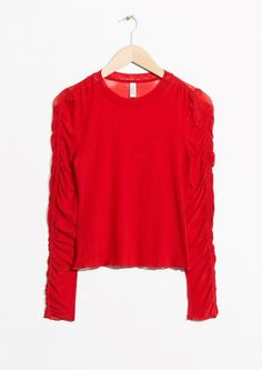 & Other Stories image 2 of Gathered Sleeve Top in Red