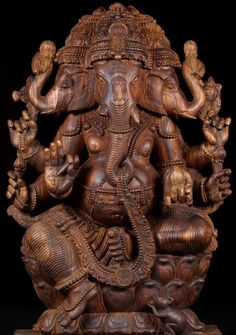 "View the SOLD Three Headed Ganesha Sculpture 48"" at Hindu Gods & Buddha Statues"