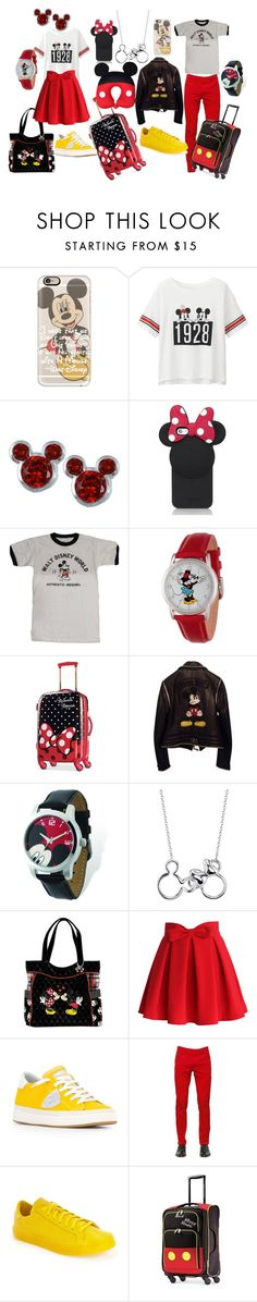"""""""Mickey&Minnie travel"""" by lujzazsu ❤ liked on Polyvore featuring Casetify, Uniqlo, Disney, Kate Spade, Philipp Plein, The Bradford Exchange, Chicwish, Philippe Model, Dolce&Gabbana and adidas"""