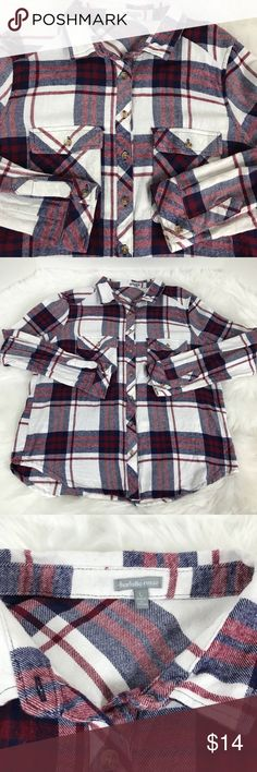 Charlotte Russe Red White Navy Blue Plaid Flannel CHARLOTTE RUSSE Plaid Flannel Navy Blue Red White Long Sleeve Women's Size Large  No tears, no flaws. Smoke-free home.  Perfect cozy warm flannel at a great price. Why pay high retail department store prices for brand names? Check out my closet for more great deals.  Flat lay measurements in inches:  Armpit to armpit: 22 Top of Back neckline to hem: 28 Bottom hem width: 22 Charlotte Russe Tops Button Down Shirts