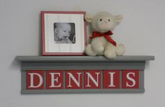 GREY RED Nursery Name Shelves Personalized Baby by NelsonsGifts, $48.00