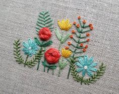 Stitching up another old favorite for the shop. It might be acting like winter outside, but these flowers remind me warmer days (and drinks on the patio ) are just around the corner. Embroidery Transfers, Hand Embroidery Stitches, Silk Ribbon Embroidery, Diy Embroidery, Vintage Embroidery, Cross Stitch Embroidery, Machine Embroidery, Japanese Embroidery, Flower Embroidery Designs
