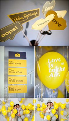 Yellow & super cute for a photo station!     Leave it to the talents of graphic designers to create this whimsical and witty wedding. Love the idea of the balloons for our Fun Photo station. www.marrymeny.com