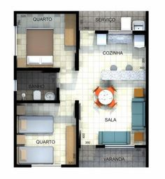 - Como diseñar - (notitle) The price reac. Little House Plans, Small House Plans, House Floor Plans, Bungalow House Design, Small House Design, Plan Hotel, 2 Bedroom House Plans, Model House Plan, Modern Tiny House