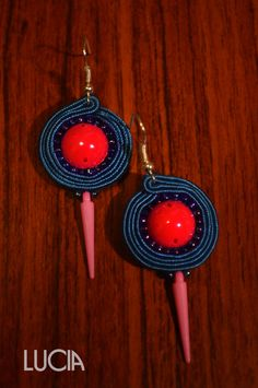 Blue and pink soutache earrings by LuciaProducts on Etsy
