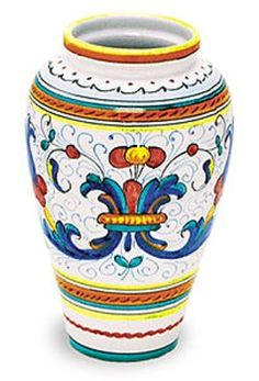 Ricco Italian ceramic vase hand made and hand painted. Italian pottery vase from Deruta. Pottery Painting, Ceramic Painting, Ceramic Vase, Pottery Art, Tall Cylinder Vases, Jar Art, Oriental Furniture, Italian Pottery, Hand Painted Ceramics