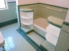1940s green tile bathroom. seafoam?