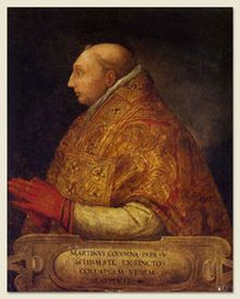Martin V  Papacy began	11 November 1417  Papacy ended	20 February 1431  Predecessor	Gregory XII  Successor	Eugene IV  Orders  Ordination	13 November 1417  Consecration	14 November 1417  by Jean Franczon Allarmet de Brogny  Created Cardinal	12 June 1405  Personal details  Birth name	Oddone Colonna  Born	1369  Genazzano, near Rome, Papal States  Died	20 February 1431  (aged 62)  Rome, Papal States