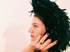 Cecile Millinery , feather head piece . Handmade in London