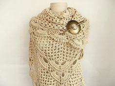 Mercerized shawl..Cotton shawl..Ecru Shawl by asuhan on Etsy, $70.00