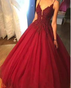 Custom Made Spaghetti Straps Ball Gown Long Prom Dresses , Evening Dress , Wedding Gown with Appliques Beaded