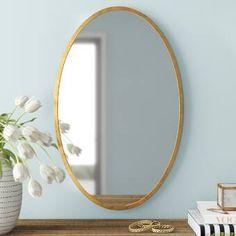 Polaris Large Framed Wall Mirror & Reviews | Joss & Main Oval Mirror, Mirror Set, Wall Mounted Mirror, Beveled Mirror, Oval Frame, Cottage Wall Mirrors, Antiques Value, Ceramic Undermount Sink, Gold Walls