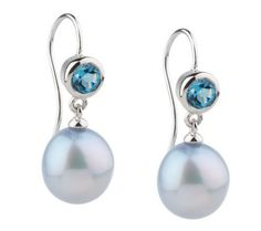 Blue Topaz and pearl earrings.