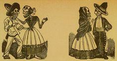 Jose Guadalupe Posada. Monografia; las Obras de Jose Guadalupe Posada. n.c. : n.p., 1930. Page 178. Skeleton couple wearing traditional Mexican dress