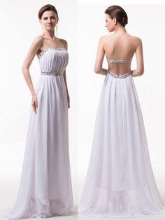 Sexy Backless Evening Dress,A-Line Chiffon Evening Dress,Elegant Long Evening Dress,Pleat Prom Dress