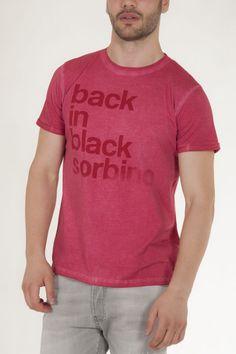 Μπλουζάκι κοντομάνικο κοραλί με γράμματα μπροστά αντρικό sorbino